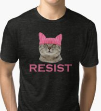 Resist Persist Pussy Cat Hat Women's Rights Tri-blend T-Shirt