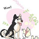 Funny Husky Dog Sketch by Natalia Piache