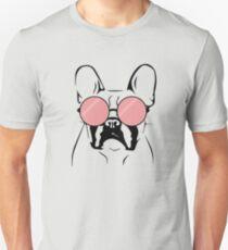 Camiseta unisex Cool Bulldog with Pink Sunglasses