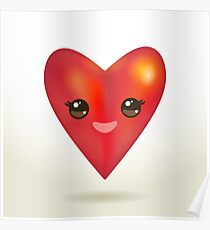 Valentine's Day Card with Kawaii red heart Poster