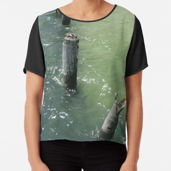Old wooden piles sticking out of sea water Chiffon Top