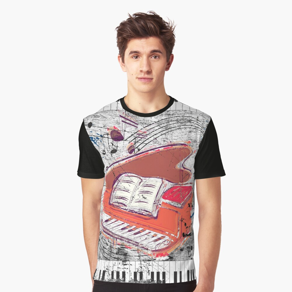 Scratched Piano Graphic T-Shirt