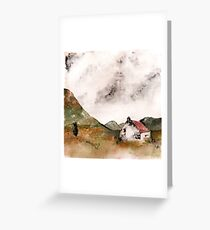 Red Roof Cottage in the Mountains- Watercolour Greeting Card