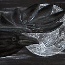 Crow and Moon - Krähe und Mond von Doris Thomas