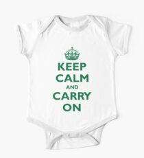 KEEP CALM and CARRY ON green color One Piece - Short Sleeve