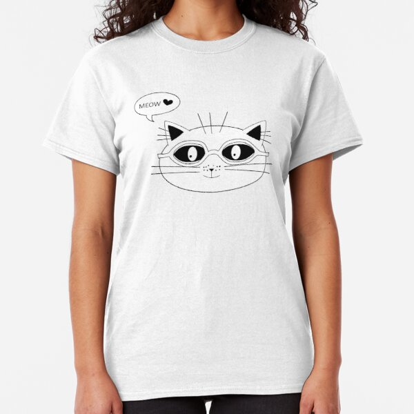 meow in white Classic T-Shirt