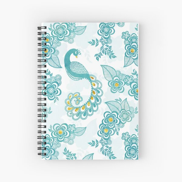 Henna Tattoo Peacock in White Spiral Notebook