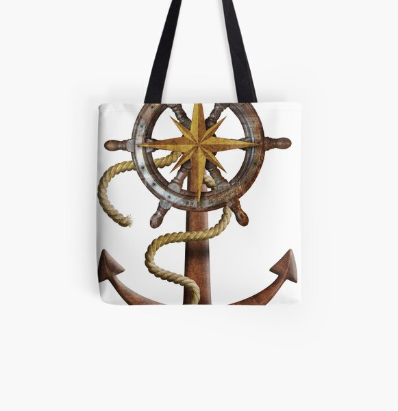 Rudder and Anchor All Over Print Tote Bag