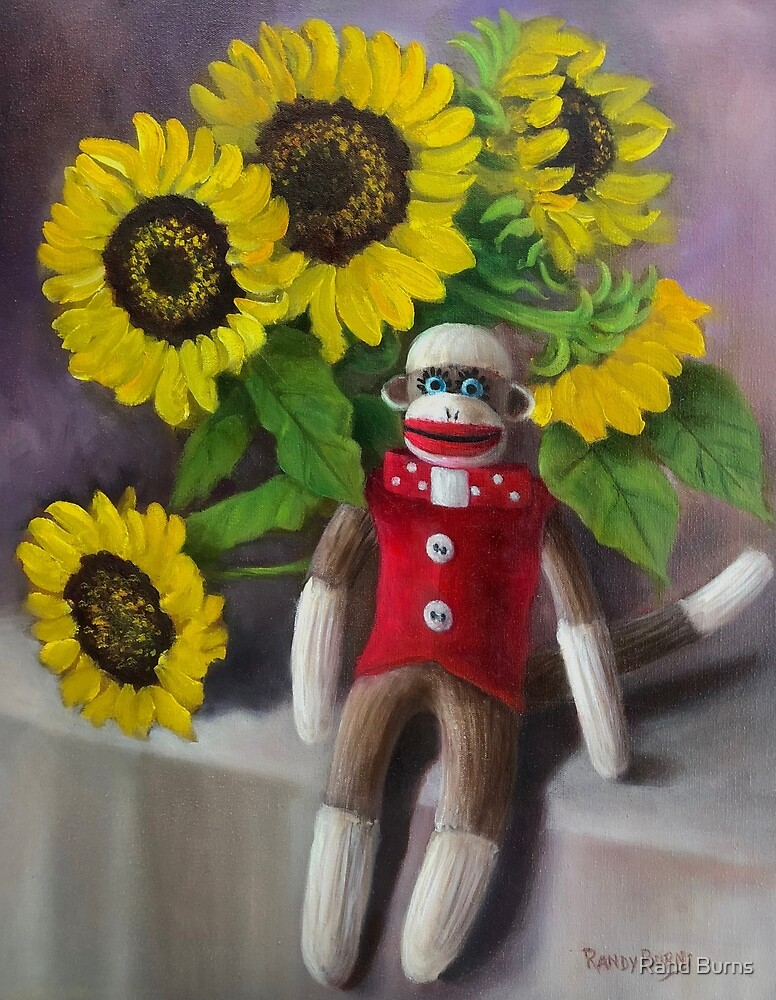 Sock Monkey With Sunflowers by Randy Burns