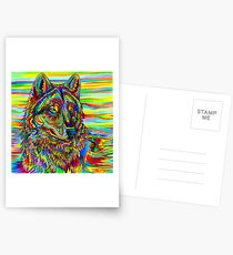 Colorful Psychedelic Rainbow Wolf Postcards