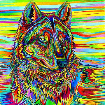 Colorful Psychedelic Rainbow Wolf by lioncrusher