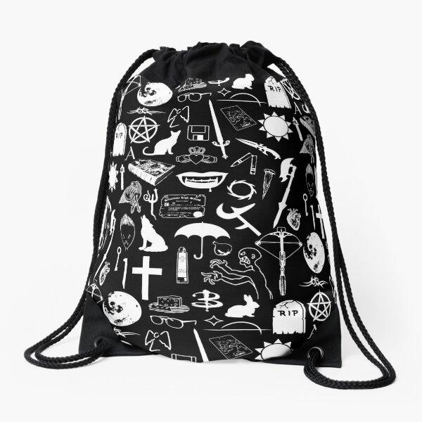 Buffy Symbology, White Drawstring Bag
