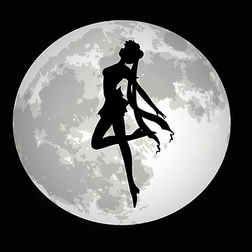 Sailor Moon Silhouette Black and White Realistic Moon by noellelucia