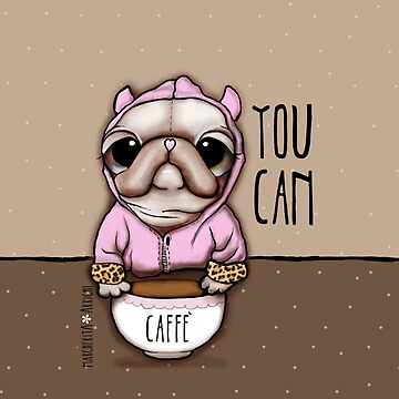 The Pug or French Bulldog with coffee, art by Margherita Arrighi by marrighi