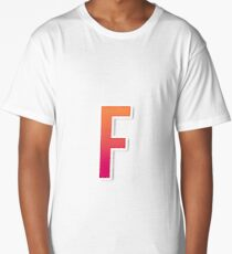 The Letter F Typography Sticker Long T-Shirt