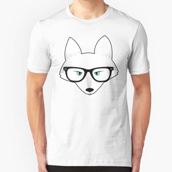 Arctic Fox with Glasses Slim Fit T-Shirt