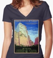 Vintage Zion National Park Travel Women's Fitted V-Neck T-Shirt