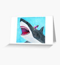 JuJu rides a Megalodon Greeting Card