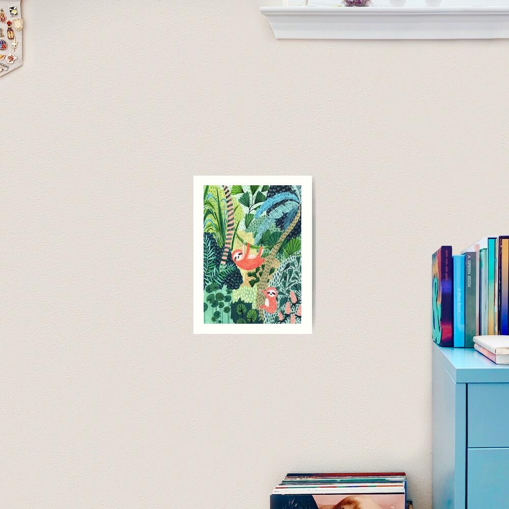 Jungle Sloth Family Art Print