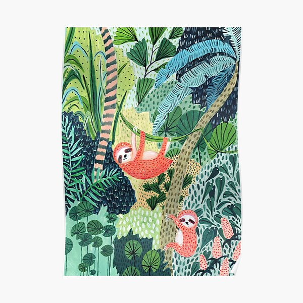 Jungle Sloth Family Poster
