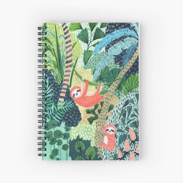 Jungle Sloth Family Spiral Notebook
