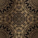 Gold on Black Indian Floral Pattern by banginT