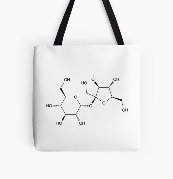 Sucrose Sugar Chemical Molecule Structure All Over Print Tote Bag