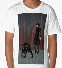 Woman vampire and werewolf in the forest horror  Long T-Shirt