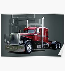 """Miss Behavin"" 1990 Peterbilt Semi Truck Poster"