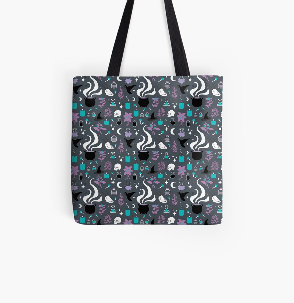 Witchy Pattern - Dark All Over Print Tote Bag