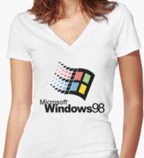 Windows 98 Women's Fitted V-Neck T-Shirt