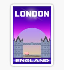 London England Tower Bridge Double Decker Bus Travel Sticker