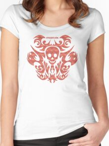skull tattoo orange Women's Fitted Scoop T-Shirt