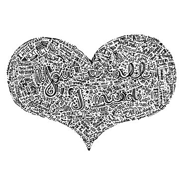 All I need - Radiohead Lyrics in a heart shape doodle by marianabeldi