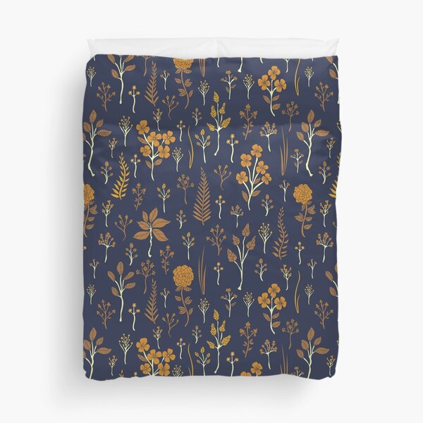 Navy Blue & Mustard Yellow Floral Pattern Duvet Cover