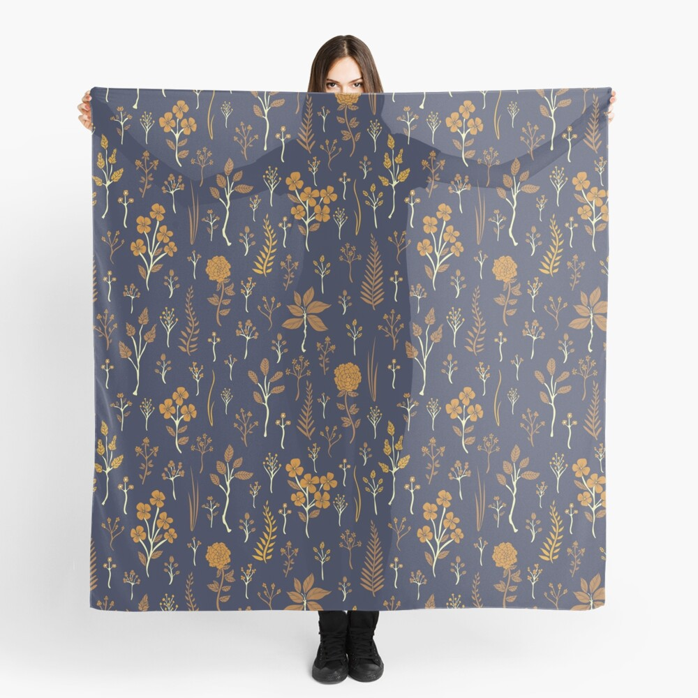 Navy Blue & Mustard Yellow Floral Pattern Scarf