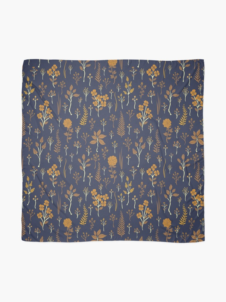 Alternate view of Navy Blue & Mustard Yellow Floral Pattern Scarf