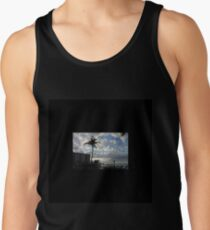Palm tree, sky, water, clouds. Tank Top
