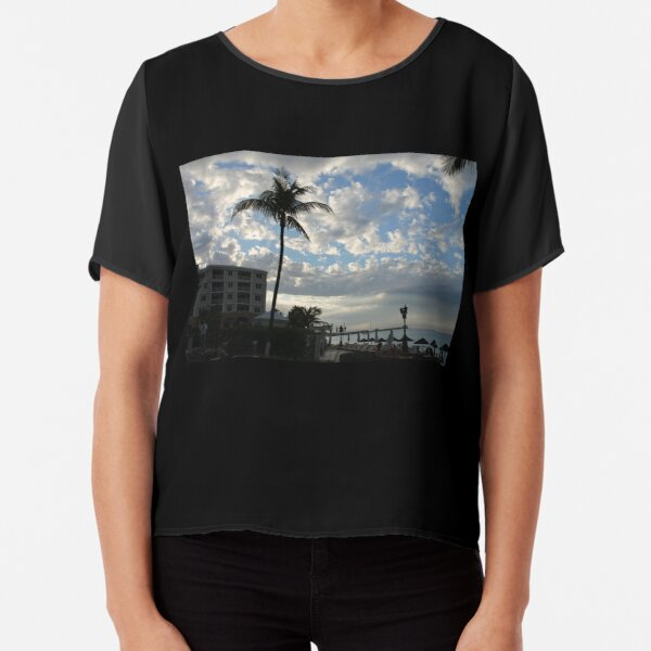 Palm tree, sky, water, clouds. Chiffon Top