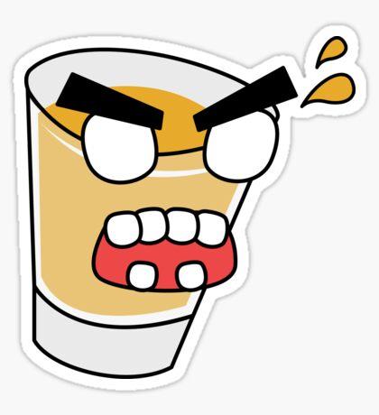 angry zombie whiskey shot Glossy Sticker