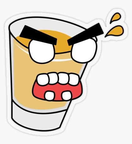 angry zombie whiskey shot Transparent Sticker