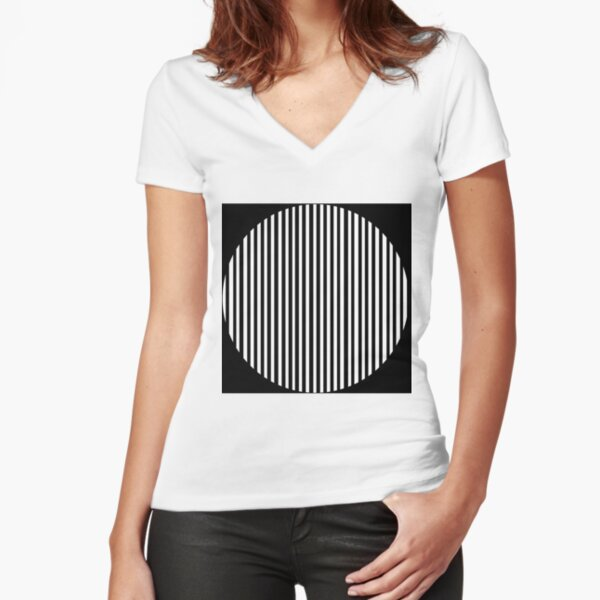 Black and white circles and stripes Fitted V-Neck T-Shirt