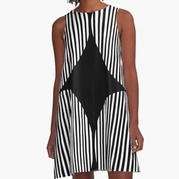 Black and white circles and stripes A-Line Dress