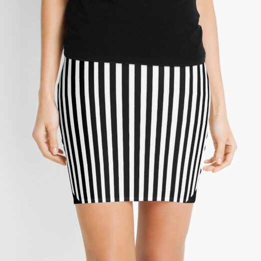 Black and white circles and stripes Mini Skirt