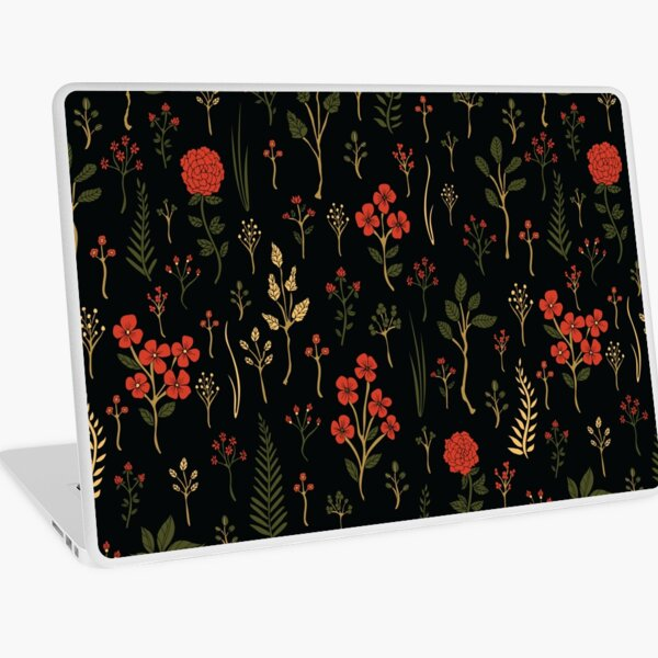 Green, Red-Orange, and Black Floral/Botanical Print Laptop Skin