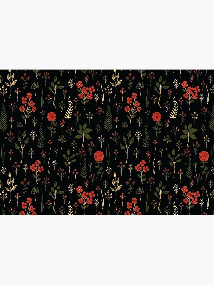 Grüner, Rot-Orange und schwarzer Blumen- / botanischer Druck von somecallmebeth