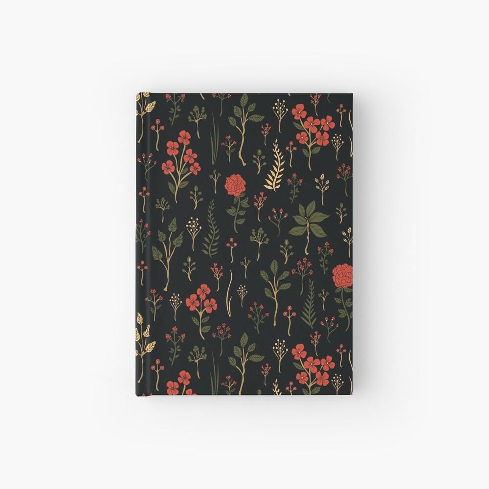 Grüner, Rot-Orange und schwarzer Blumen- / botanischer Druck Notizbuch