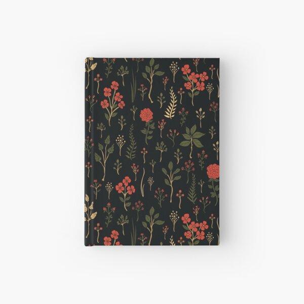Green, Red-Orange, and Black Floral/Botanical Print Hardcover Journal