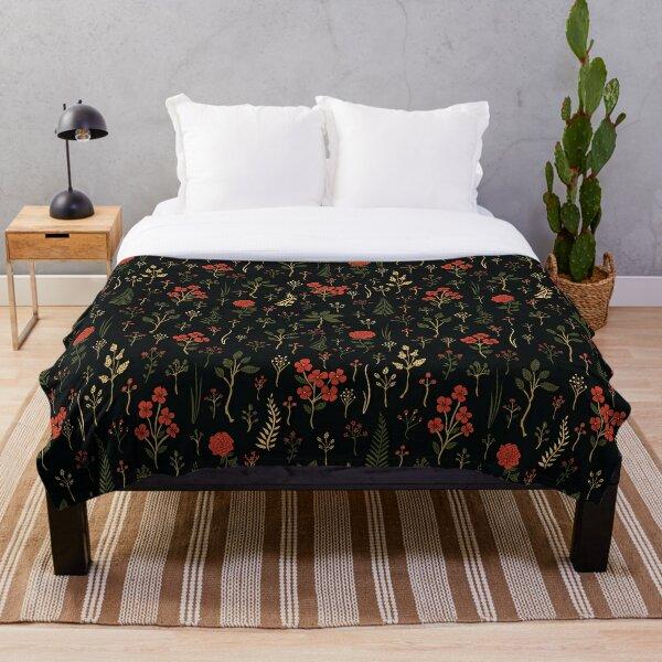 Green, Red-Orange, and Black Floral/Botanical Print Throw Blanket