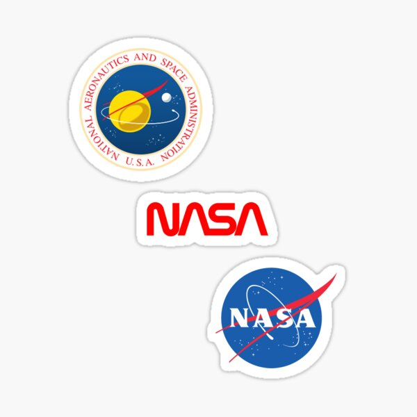 Three different official NASA logos Sticker